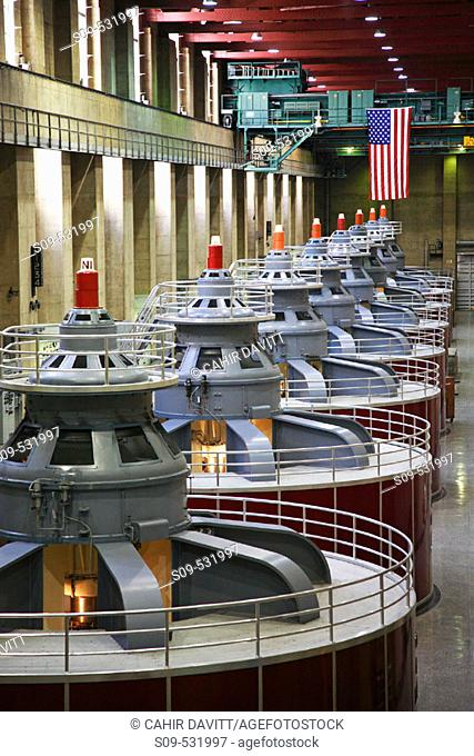 The hall containing the 8 power plant generators on the Nevada side of the Hoover Dam, Boulder City, Nevada / Arizona, United States of America