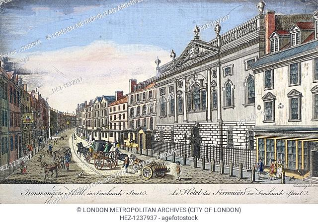 View of Ironmongers' Hall and Fenchurch Street, London, c1750 with a street scene and horse drawn vehicles. The new hall by Thomas Holden replaced the...