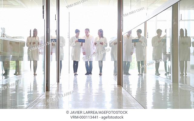 Researchers walking towards the camera, Tecnalia Foundation, Technology and Research Centre, San Sebastian Technological Park, Donostia, Gipuzkoa