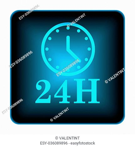 24H clock icon. Internet button on white background