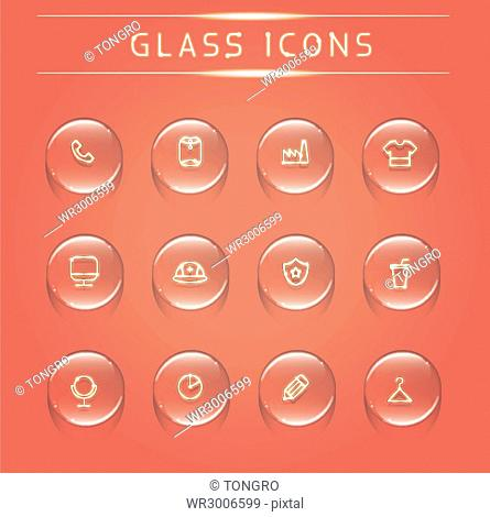 Set of various glass icons