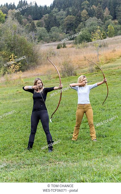 Two archeress standing on a meadow aiming with her bows