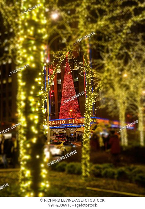 Radio City Music Hall in Rockefeller Center in Midtown Manhattan in New York is decorated for the Christmas holiday, seen on December 9, 2014