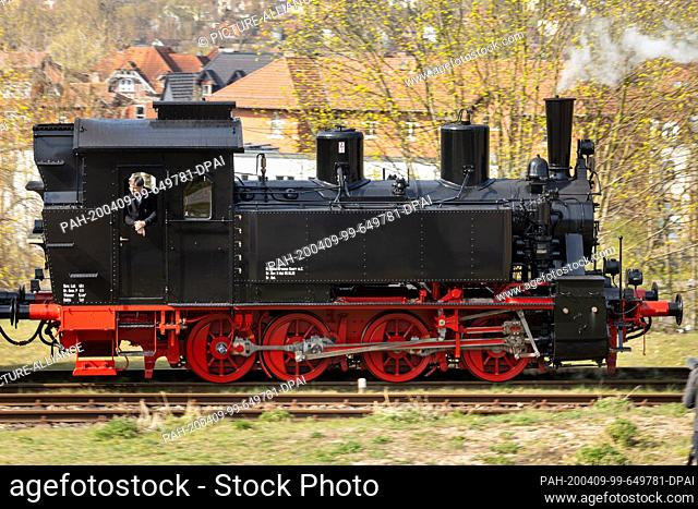 09 April 2020, Thuringia, Meiningen: The newly repaired steam locomotive 99 886 of the Rhön train, which was severely damaged in an accident in the summer of...