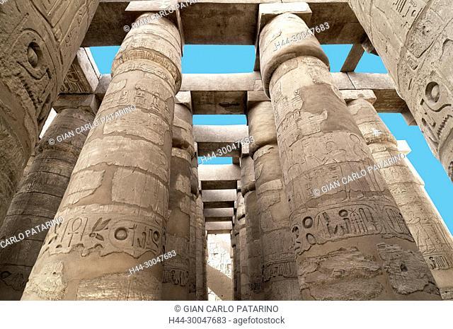Karnak, Luxor, Egypt. Temple of Karnak sacred to god Amon: the hypostyle hall