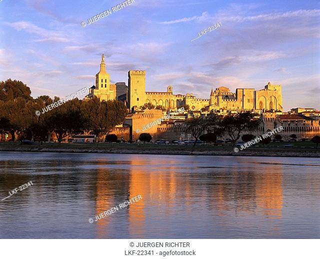 Palais des Papes, Pope's palace in the light of the evening sun, Avingnon, Vaucluse, Provence, France, Europe