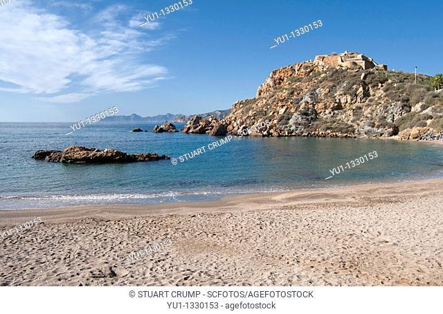 Cala Cortina beach just outside the city of Cartagena in the region of Murcia, Costa Calida, Southeastern Spain