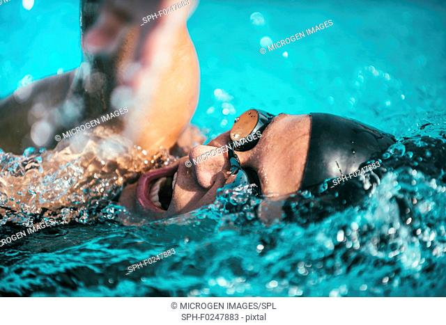Swimming freestyle front crawl close-up