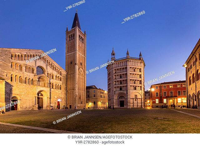 Twilight over the Duomo and Baptistery, Parma, Emilia-Romagna, Italy