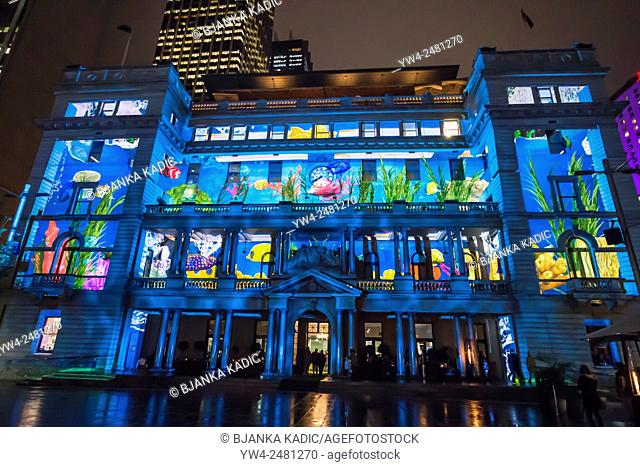Vivid Festival, Light Installation, Customs House, Sydney, Australia