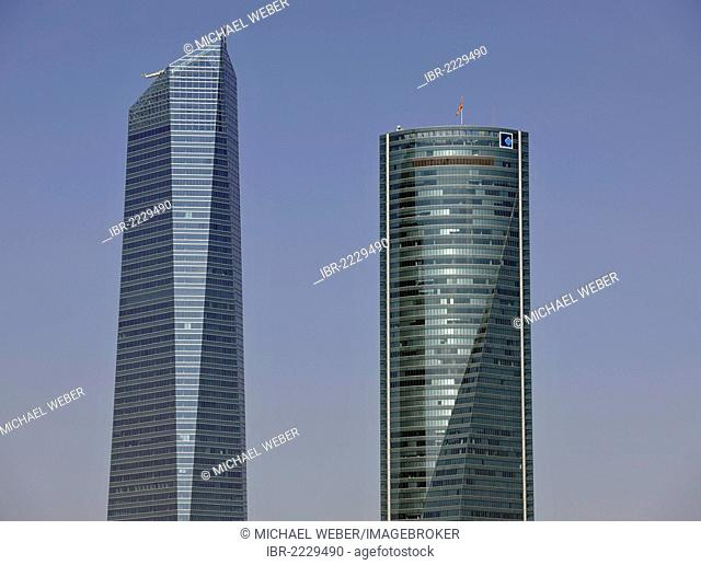 Cuatro Torres Business Area, formerly the Madrid Arena, with four skyscrapers, here Torre de Cristal, Crystal Tower and Torre Espacio, Madrid, Spain, Europe