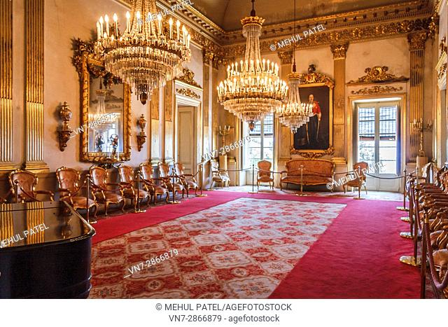 Inside one of the grand rooms of Casa Canals, a former stately home of the Canals family, now preserved as a museum for the public - Tarragona, Catalonia, Spain