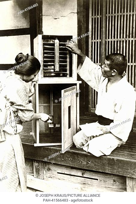 Winding of silk fibre. Pictured in the early 1920th. - /Japan