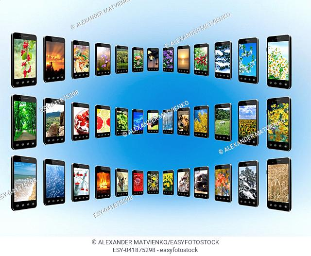 Smartphones with different photo in rows. Mobile phones with images of nature. Modern communications. Digital technologies. Smartphones isolated