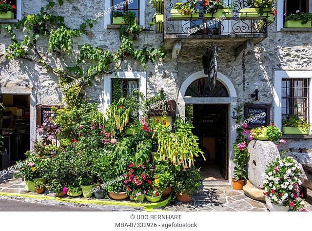 Entrance to the restaurant Grotto du Rii, Centovalli, Intragna, Ticino, Switzerland