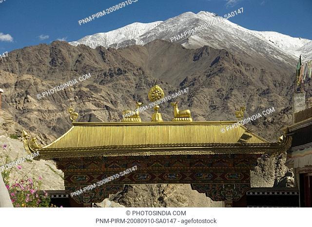 Gateway of a monastery, Thiksey Monastery, Ladakh, Jammu and Kashmir, India