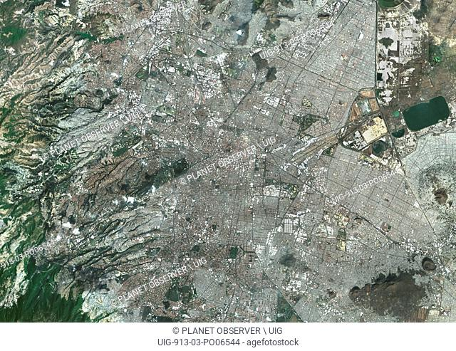 Colour satellite image of Mexico City, Mexico. Image taken on December 14, 2013 with Landsat 8 data