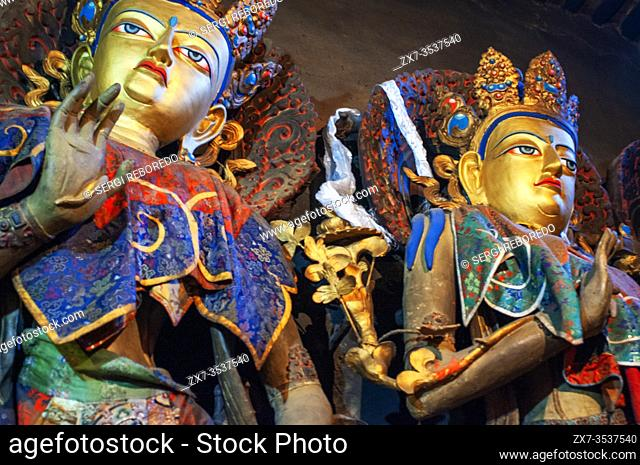 Sculpture of Virudhaka inside the Jokhang Temple, Lhasa, Tibet. Virudhaka, guardian of the South is the Lord of the Kumbhandas, dwarves with buffalo face
