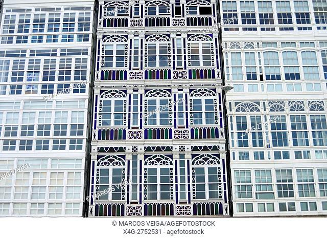 Buildings in A Coruña, Galicia, Spain