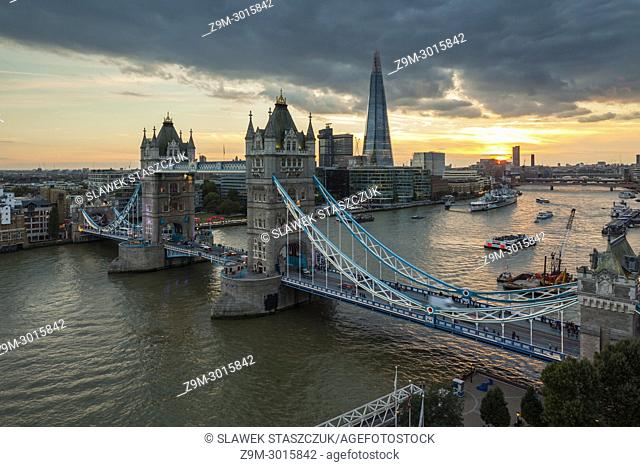 Sunset at Tower Bridge in London, England