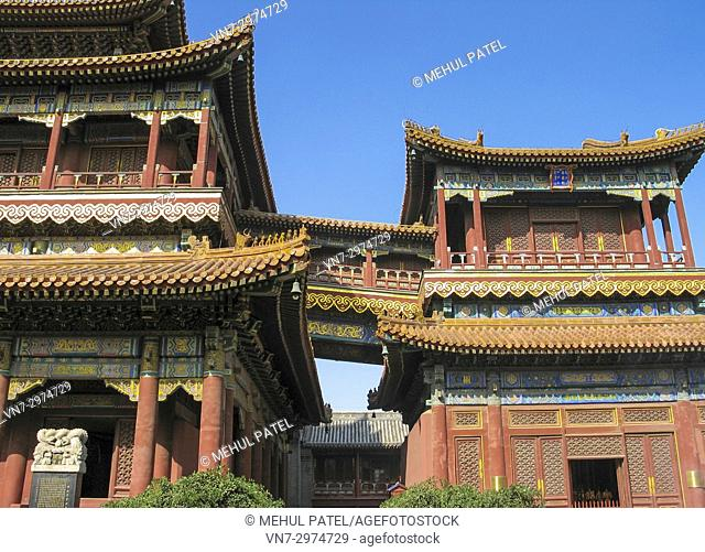 Yonghe Gong temple in Beijing, China. Also known as the 'Lama temple' as it is a centre for buddhist followers in Beijing