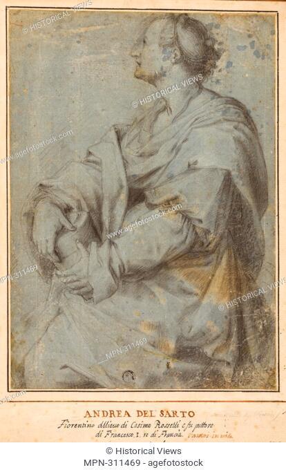 Andrea del Sarto. Saint Mary Magdalene - 1600/25 - After Andrea del Sarto Italian, 1486-1530. Black chalk on cream laid paper, prepared with a blue wash