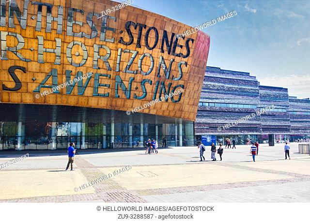 Wales Millennium Centre Cardiff Bay, Cardiff, Wales, United Kingdom. Inscribed on the front of the dome above the main entrance is poetry by Gwyneth Lewis in...