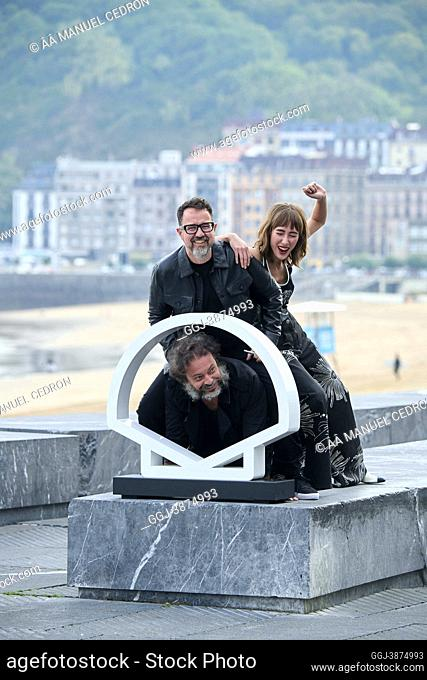 Enrique Lopez Lavigne, Paco Plaza, Almudena Amor attended 'The grandmother' Photocall during 69th San Sebastian International Film Festival at Kursaal Palace on...
