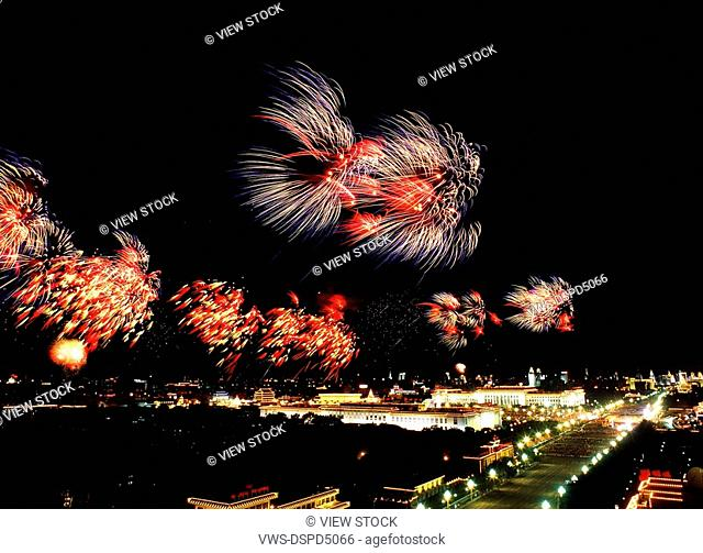 Fireworks In Tian'Anmen Square,Beijing,China