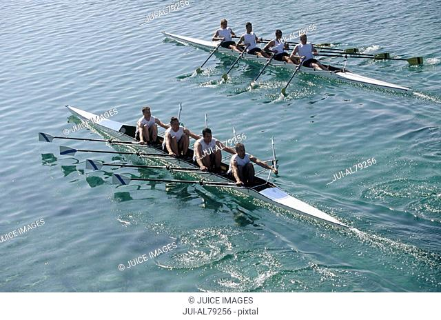 Team of rowers competing