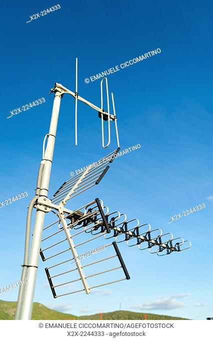 Antenna in a flat roof, Eivissa, Ibiza, Balearic Islands, Spain, Mediterranean, Europe