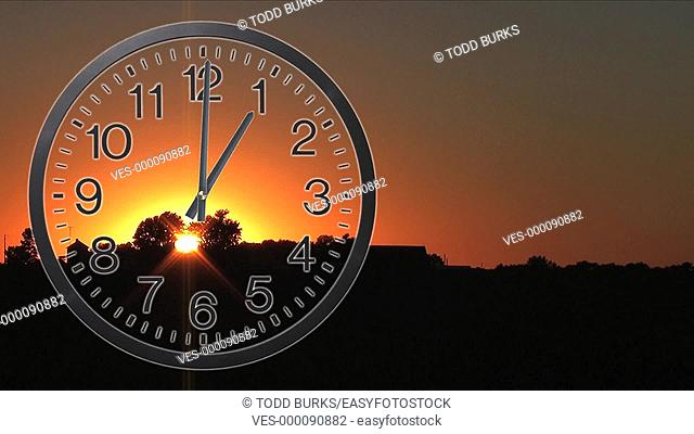 Twelve hour time lapse of clock with sunset