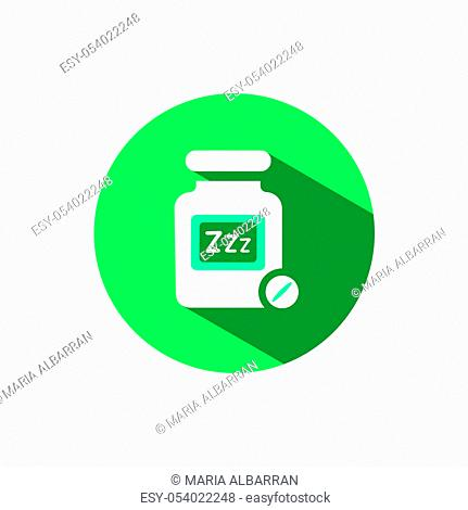 Sleeping pills icon with shadow on a green circle. Flat color vector pharmacy illustration