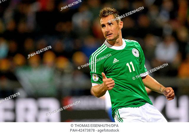 Germany's Miroslav Klose is pictured during the FIFA World Cup 2014 qualification group C soccer match between the Faroe Islands and Germany at the Torsvollur...