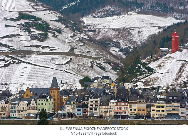Zell, Mosel, Moselle, Valley, Rhineland-Palatinate, Germany, Winter