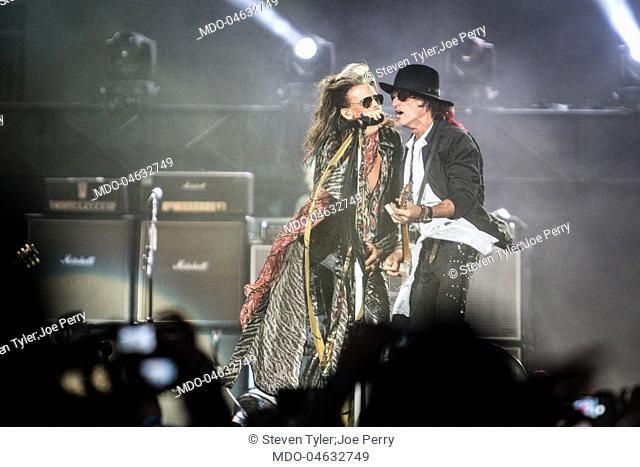 Singer Steven Tyler (Steven Victor Tallarico) and guitarist Joe Perry, members of the band Aerosmith, in concert at Firenze Rocks Festival