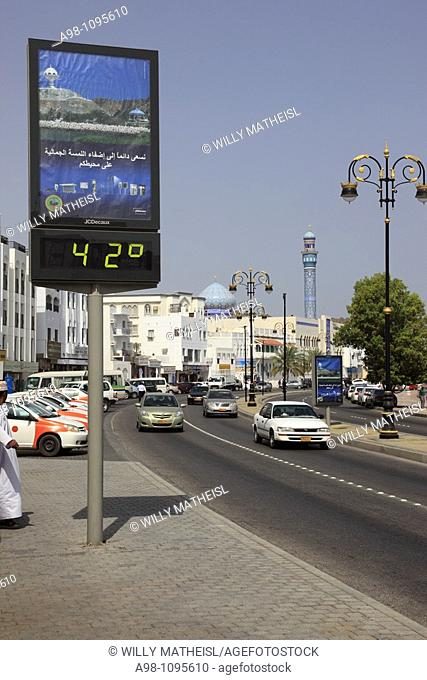 digital thermometer showing 42 degree celsius at the Corniche in the city of Muttrah, Sultanate of Oman