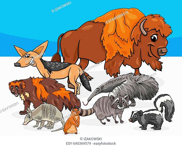 Cartoon Illustrations of American Animal Characters Group