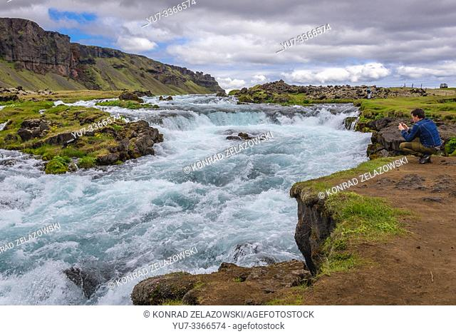 Small waterfall next to Route 1 in south part of Iceland