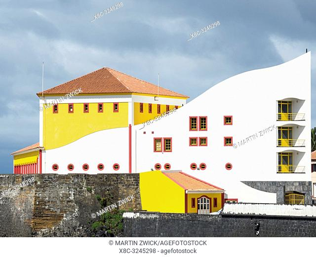 Auditorio Municipal, modern and contemporary architecture in Velas, the main town on the island. Sao Jorge Island, an island in the Azores (Ilhas dos Acores) in...