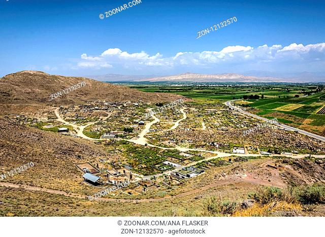 View over old and new cemetery at Khor Virap, Armenia