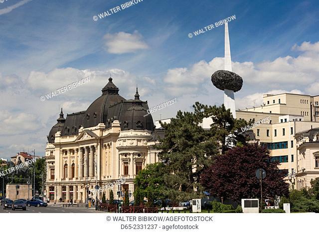Romania, Bucharest, Piata George Enescu Square and King Carol I University with Piata Revolutei Square, Rebirth Memorial