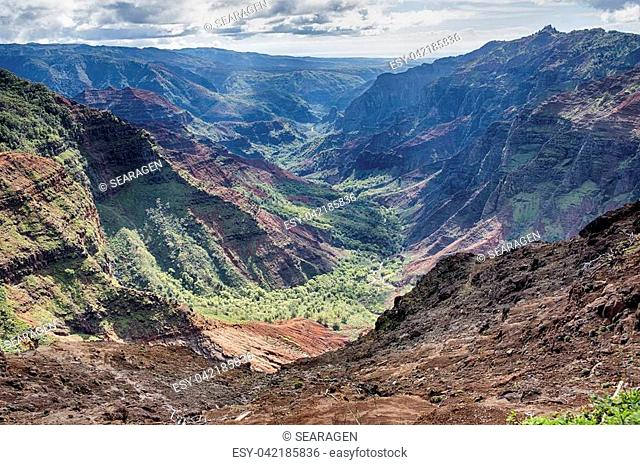 A viewpoint of a portion of the Waimea Canyon on the island of Kauai; shows the deep valley and the tropical jungle