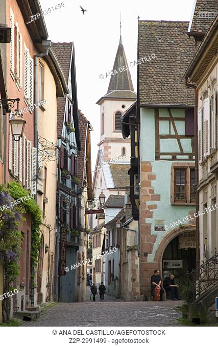 Riquewihr town on Alsace wine route, known for the Riesling and other great wines. Alsace, France