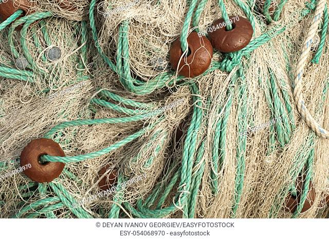 Beige color fishing nets background