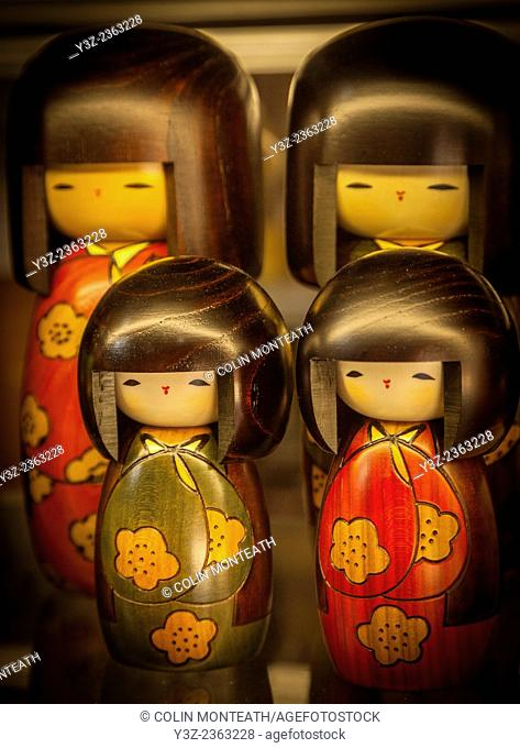 Traditional Japanese wooden dolls, for sale in craft shop, Tsumago, Northern Japan Alps, Japan