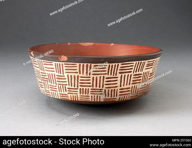 One of a Pair of Bowls with Textile-Like Pattern - 180 B.C./A.D. 500 - Nazca South coast, Peru - Artist: Nazca, Origin: Peru, Date: 180 BC–500 AD