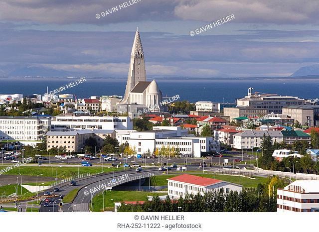 The 75m tall steeple and vast modernist church of Hallgrimskirkja, rising above the city, built between 1940 and 1974, Reykjavik, Iceland, Polar Regions