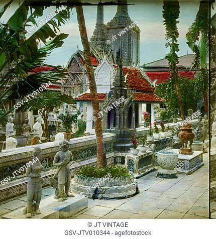 Wat Phra Kaew, Temple of the Emerald Buddha, Wat Phra Si Rattana Satsadaram, Bangkok, Thailand, Hand-Colored Magic Lantern Slide, Newton & Company, 1910