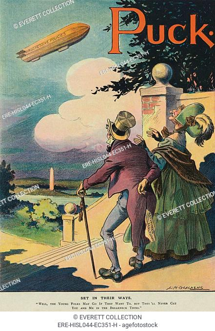 SET IN THEIR WAYS, a political cartoon about the Progressive Movement in the 1911. An elderly couple labeled Republican and Democratic Reactionaries